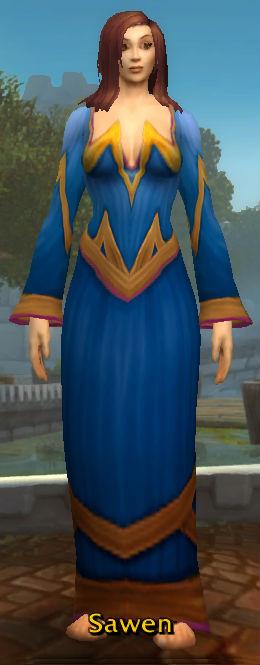 Blue Linen Robe back